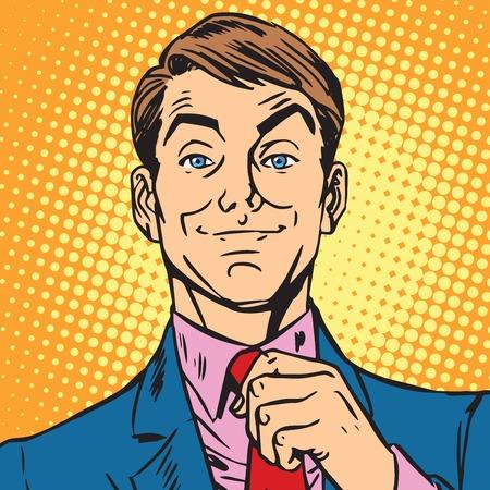 아바타의 초상화 남자의 초상화는 자신의 넥타이를 곧게 만듭니다. 팝 아트 복고풍 벡터 일러스트 레이션