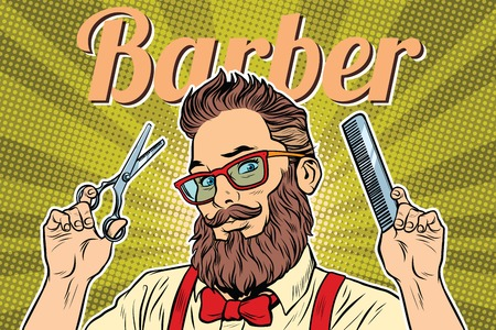 bearded hipster barber with scissors and comb. Pop art retro vector illustration Çizim
