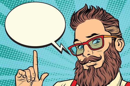 Bebaarde hipster man portret wijzende vinger. Komische wolkenbel. Pop art retro vectorillustratie