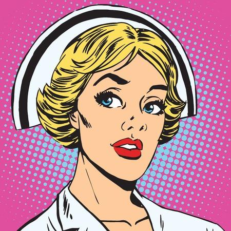 아바타의 초상화 복고풍 간호사의 초상화입니다. 팝 아트 복고풍 벡터 일러스트 레이션