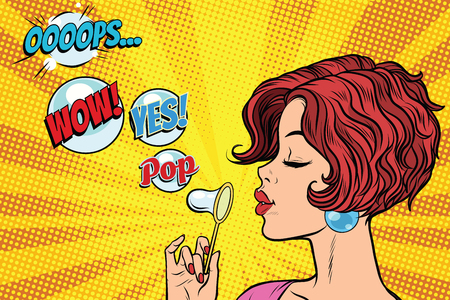 Young woman blowing air bubbles comic. oops wow yes pop. Pop art retro vector illustration