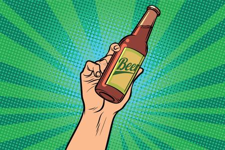beer bottle in hand. Pop art retro vector illustration Illustration