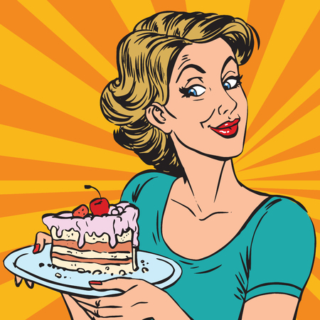avatar portrait woman with a piece of cake. Pop art retro vector illustration