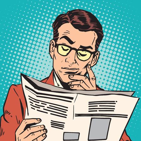avatar portrait man reading a newspaper. Pop art retro vector illustration