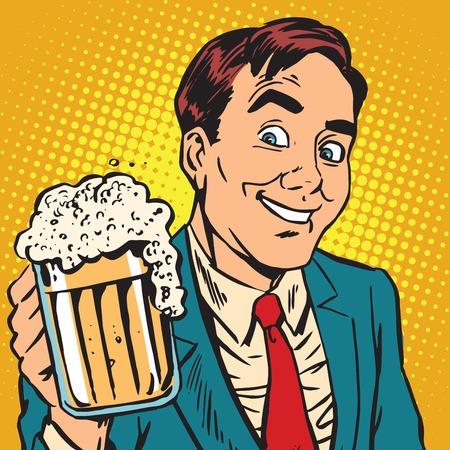 ジョッキのビールを発泡 Printavatar の肖像画の男。ポップアートのレトロなベクトル図