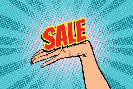 sale word. Women open palm hand hold gesture. Pop art retro vector illustration