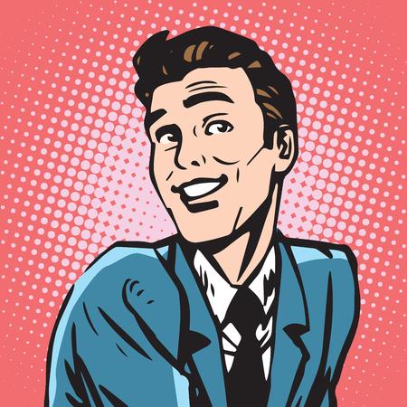 アバターの肖像画笑顔男性。ポップアートのレトロなベクトル図  イラスト・ベクター素材