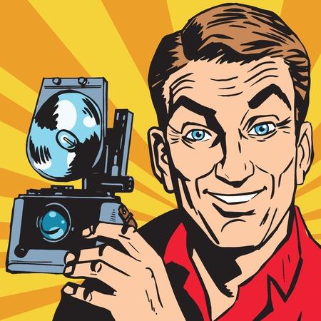 Avatar Porträt des Mannes mit Retro-Kamera. Pop-Art Retro-Vektor-Illustration Standard-Bild - 83085792