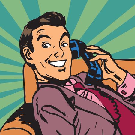 レトロな電話番号を持つ Printavatar 肖像画男。ポップアートのレトロなベクトル図 写真素材