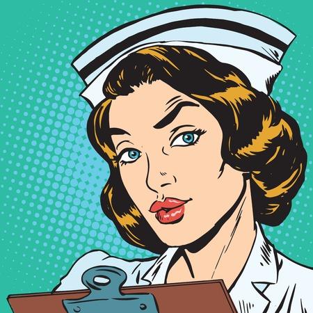 Portrait d'avatar d'une infirmière rétro Banque d'images - 83156458