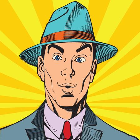 Printavatar-portret verraste de mens in de hoed Stockfoto
