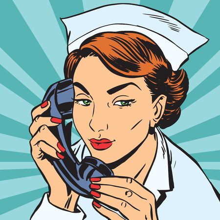 avatar portrait of a nurse with the phone