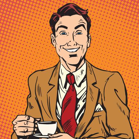 Printavatar portrait of man drinking coffee