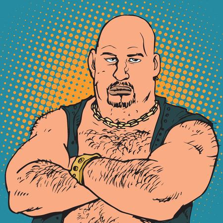 avatar portrait bald biker. Pop art retro vector illustration