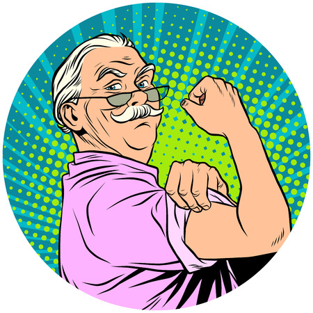 we can do it old man retired pop art avatar character icon Banco de Imagens - 84215155
