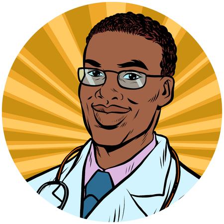 黒い男性医者アフリカ系アメリカ人のポップ アート アバター文字アイコン