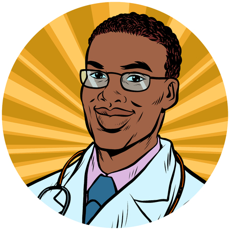black male doctor African American pop art avatar character icon Ilustracja