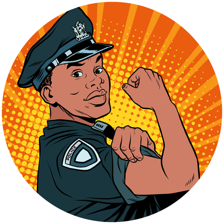 we can do it black policeman African American pop art avatar cha Ilustrace