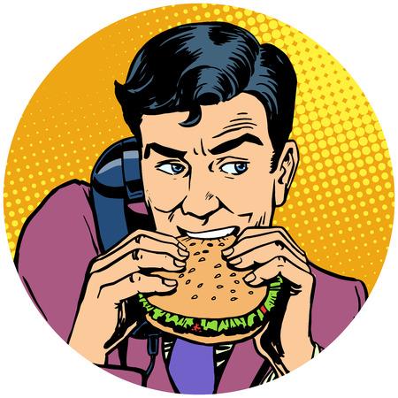 햄버거를 먹고 전화로 이야기하는 사업가 팝 아트 ava 일러스트