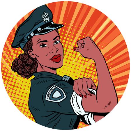 우리는 그것을 할 수있다 흑인 경찰 여자 흑인 팝 아트 아바타