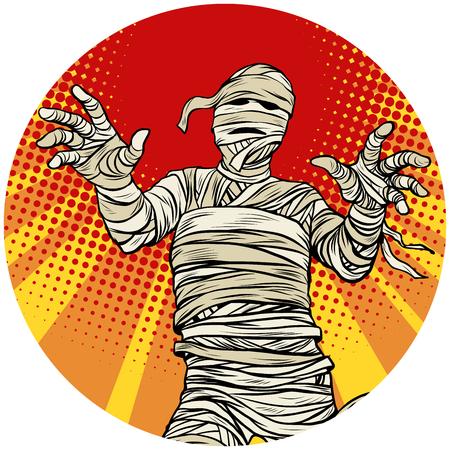 Egyptian mummy walking pop art avatar character icon Banco de Imagens - 84215168