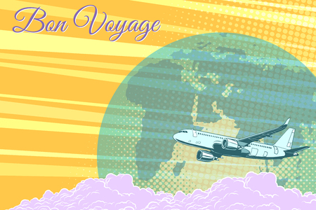 Plane flight travel tourism retro background Bon voyage 向量圖像