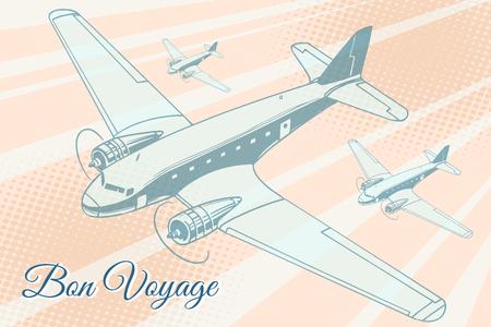 Bon voyage aviation background. Airplane aviation travel voyage tourism air transport. Pop art retro vector illustration Illustration
