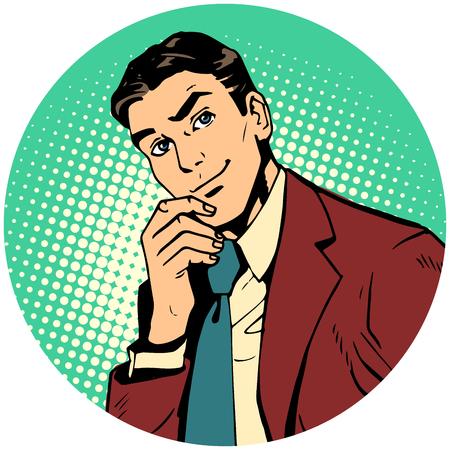 Round avatar icon symbol character image. Pop art retro vector illustration