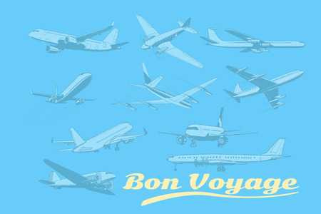 Bon voyage, set of aircraft air transport. Airplane aviation travel voyage tourism air transport. Pop art retro vector illustration Illustration