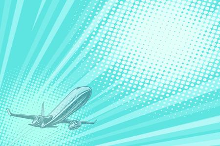 Takeoff aviation background flight journey. Airplane aviation travel voyage tourism air transport. Pop art retro vector illustration