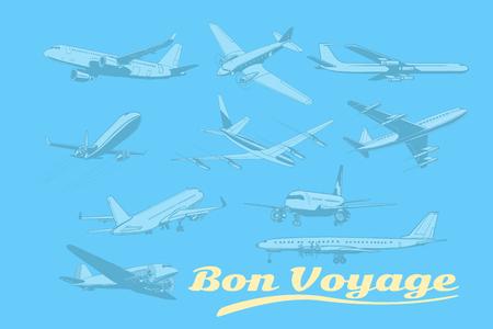 いってらっしゃい、航空機空輸輸送機をセットします。飛行機航空旅行旅観光航空輸送。ポップアートのレトロなベクトル図