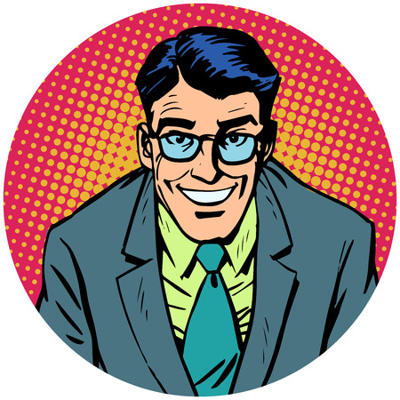 hair style: smiling man with glasses. Round avatar icon symbol character image. Pop art retro vector illustration