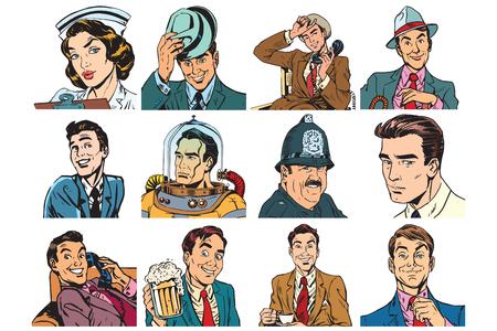 Set of pop art portraits of men and women. Ilustração