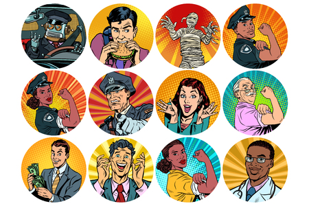set pop art round icons characters avatar. retro vector illustration Banco de Imagens