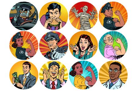 set pop art round icons characters avatar. retro vector illustration Stock Photo
