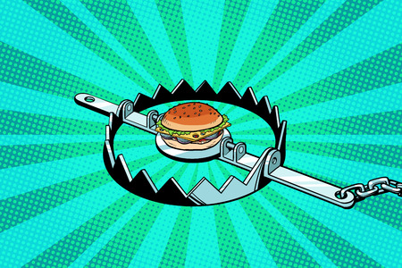 Iron trap with the Burger. concept of hunger and diet Ilustracja