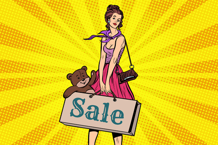 Beautiful girl with soft toy bear, discounts and sale Illustration