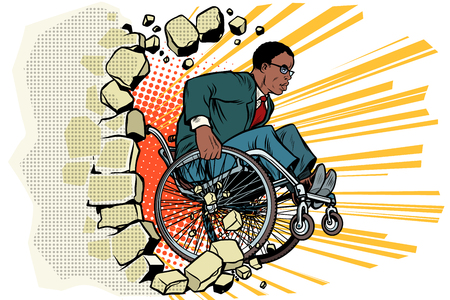 African Businessman in a wheelchair. Disabilities and health Çizim