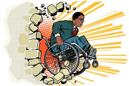 Afrikaanse zakenman in een rolstoel. Gehandicapten en gezondheid Stock Illustratie