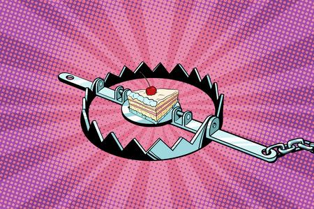 Iron trap with cherry cake Illustration