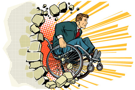 Businessman in a wheelchair. Disabilities and health Illustration