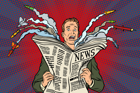 newspaper bad news about nuclear war, the man shocked Vettoriali