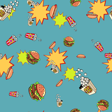 Fast food seamless pattern background Illustration