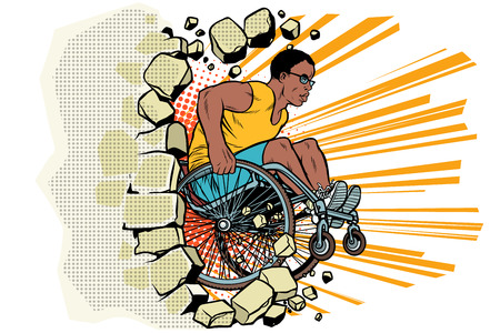 Black male athlete in a wheelchair punches the wall Illustration