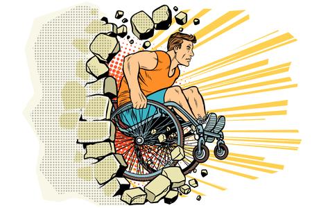 De Kaukasische mannelijke atleet in een rolstoel slaat de muur