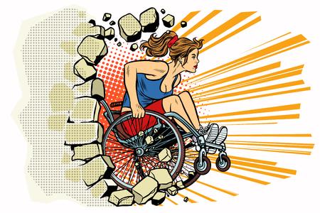 車椅子で白人女性アスリートが壁をパンチします。