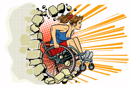 Caucasian woman athlete in a wheelchair punches the wall