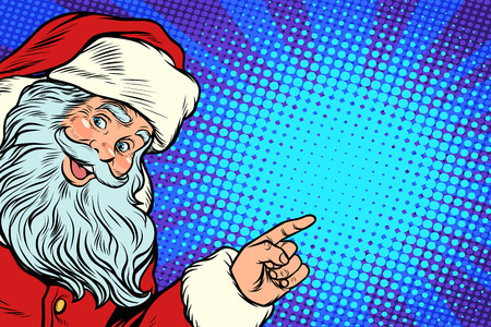 Santa Claus pointing to copy space
