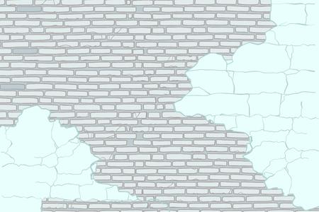 Vieux mur de briques avec peeling peinture illustration vectorielle Banque d'images - 85812189