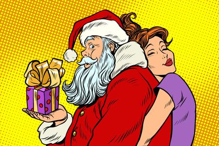 산타 클로스와 아름다운 여자, 놀라운 크리스마스 선물 일러스트
